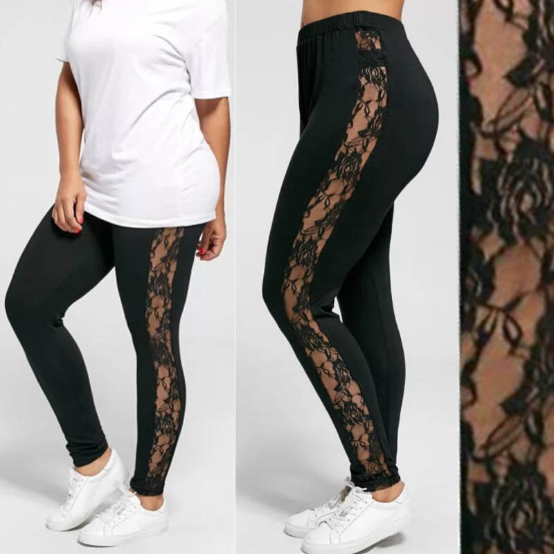 Womens Sexy Leggings Floral Lace Pants Side Sheer Black Leggings Slim Stretch Sexy Trousers Plus Size L-3XL