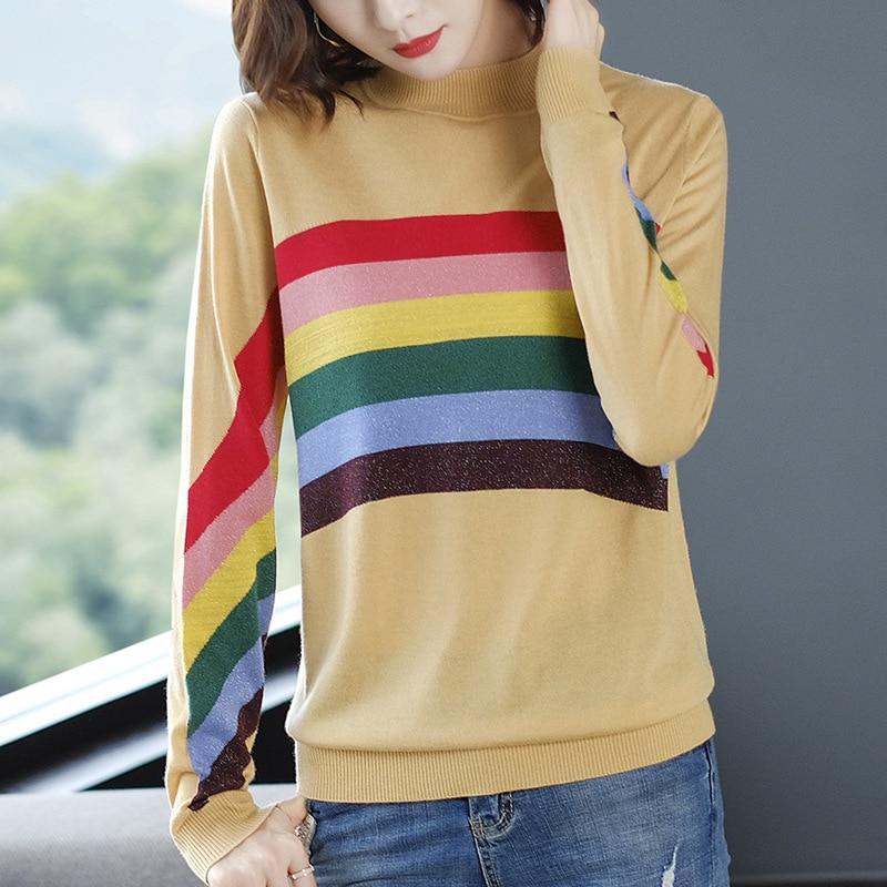 Пуловеры с радугой полосатый укороченный Топ свитер женский трикотажный джемпер зимняя одежда круглый вырез Повседневный свободный свите