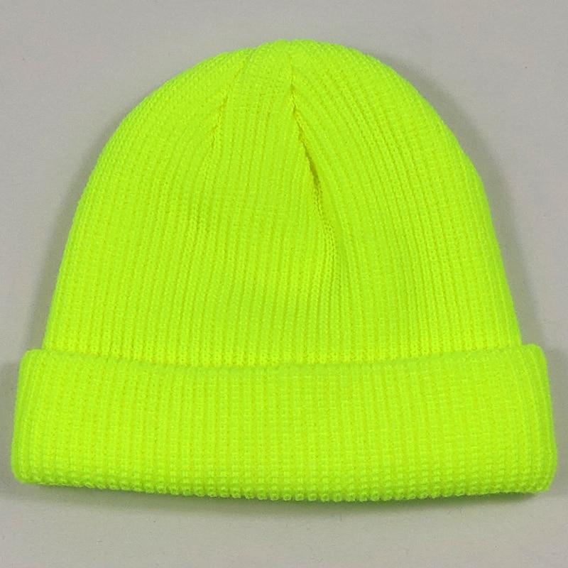 Beanies Women Skull-Cap Short Knit Orange Neon Hip-Hop-Streetwear Plain Bright-Green