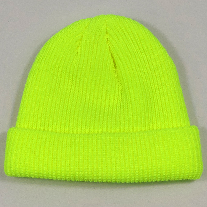 Short Plain Cuffed Hat   Beanies   Women Men Winter Knit Skull Cap Hip Hop Streetwear Neon Yellow Neon Orange Bright Green