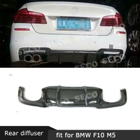 For BMW 5 Series F10 M5 Sedan 2012 2017 Rear Lip Spoiler Diffuser Carbon Fiber Fins Shark Style Skid Plate FRP Bumper Guard