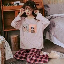 BZEL Große Größe Pyjamas Sets frauen Nachtwäsche Rosa Casual Hause Tragen Loungewear Laides Lange Pijama Pyjamas Baumwolle Homewear M 3XL