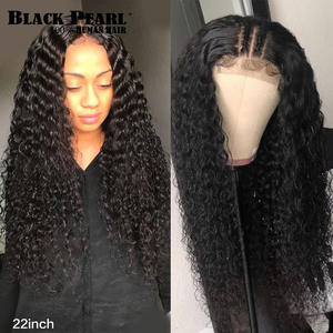 Human-Hair-Wig Wigs Frontal Deep-Wave Women Brazilian 150%Density with Baby Remy