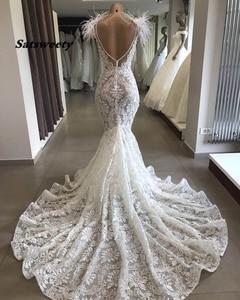 Image 2 - 2020 Robe De Mariee Luxurious Wedding Dresses Floor Length Lace Mermaid Custom Made Bridal Gowns Vestido De Novia Sirena