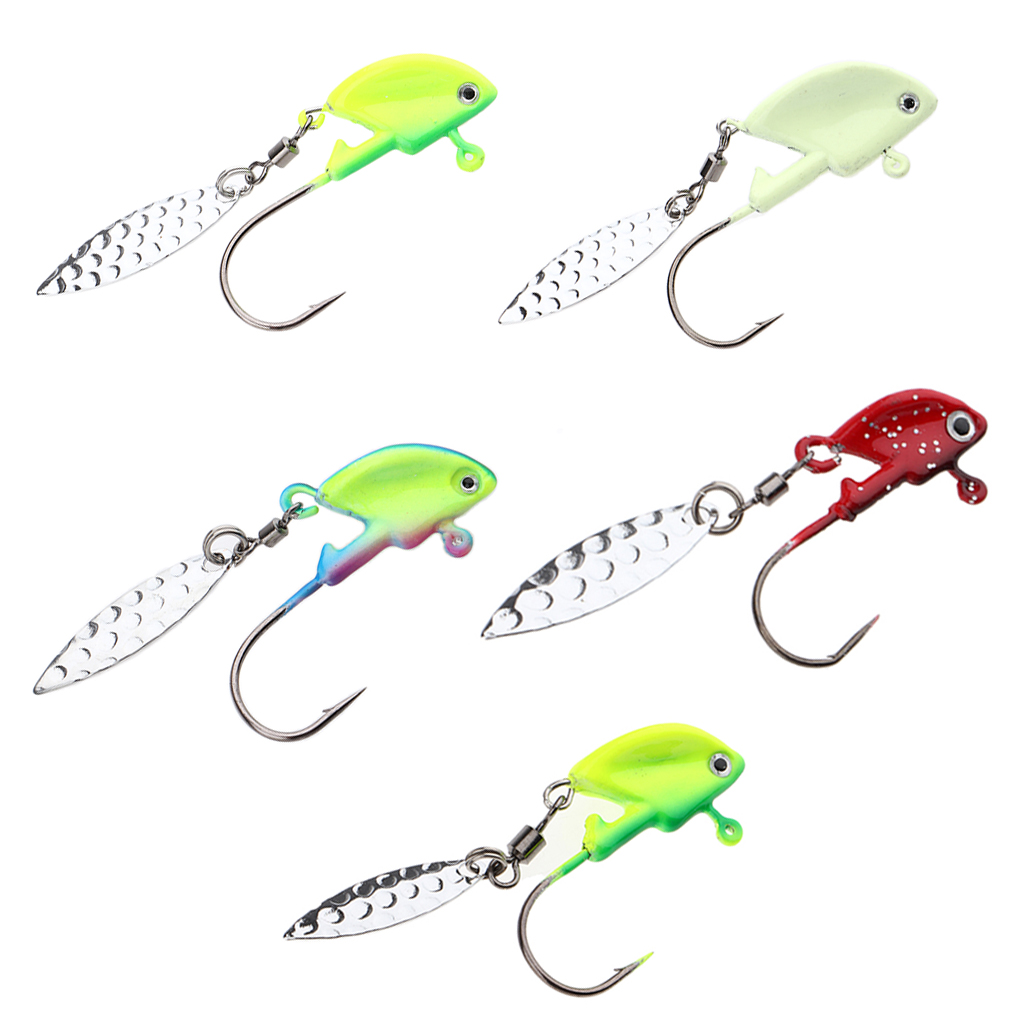 5pcs Shad Jig Heads Luminous Fishing Lures Underspin Swimbait Hooks With Spoon For Saltwater And Freshwater Bass Walleye