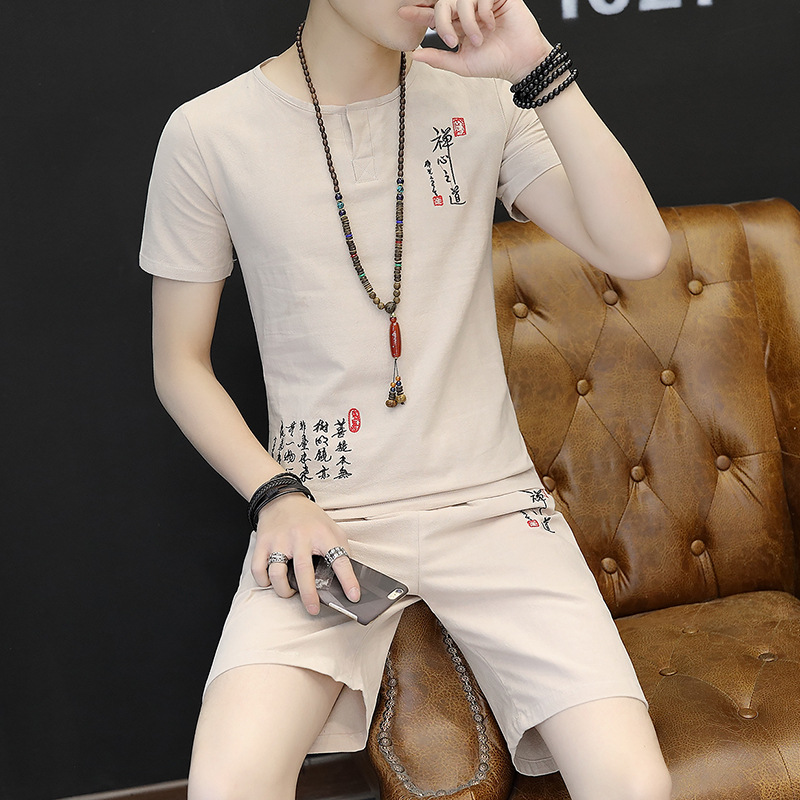 2019 Summer New Products Men Cotton Linen Set Zen Embroidered MEN'S Short-sleeved T-shirt Cotton Linen Korean-style 2 Pieces Cas