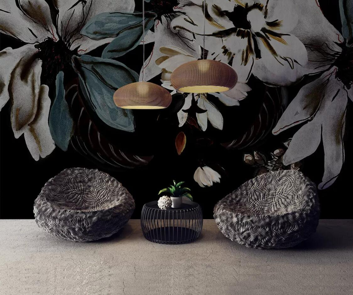 Nordic Dark Flower Wall Mural Wallpaper Black Background HD Printed Photo Wall Papers Painting Home Improvement Floral Wallpaper