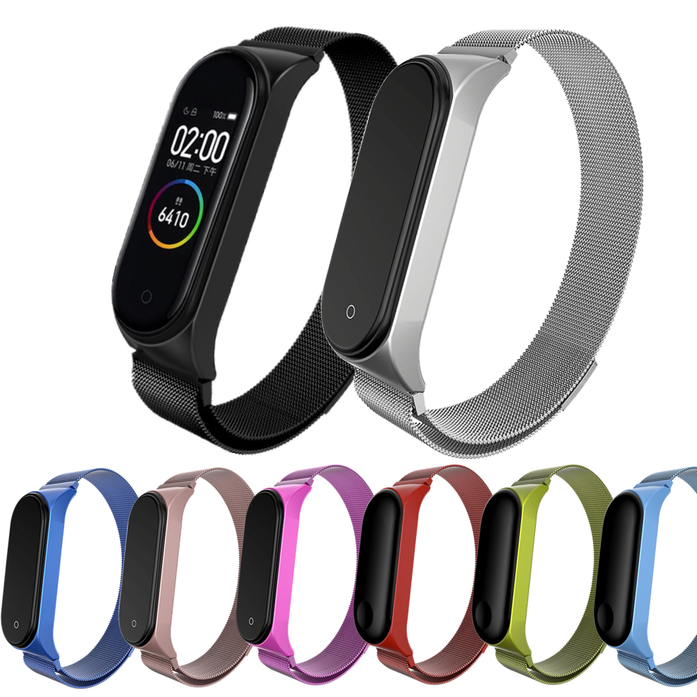 Mi Band 3 4 Bracelet Magnetic Strap Wrist Metal Screwless Stainless Steel Miband 4 3 Wristbands Strap For Xiaomi Mi Band 4 3