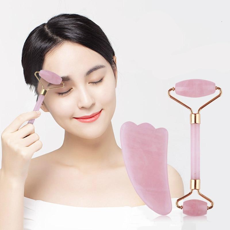 Dropshipping Natural Pink Crystal Jade Roller Double Head Rose Quartz Massage Roller Real Stone Facial Massager Guasha Tool Set