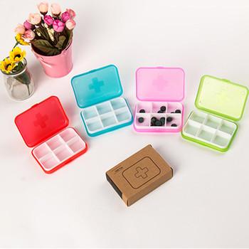 1PC Mini 6 slotów pojemnik przenośny witamina pudełko na tabletki Tablet lek na tabletki w podróży apteczka pojemnik do przechowywania organizator tanie i dobre opinie QGQ167