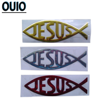 5PCS 3D JESUS Fish Car Stickers Gold Red Silver Soft PVC Auto Styling Decoration Waterproof Christian Decal Sticker Accessories