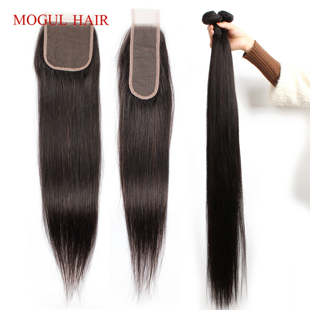 MOGUL HAIR 30 Inch Hair With Lace Closure Natural Color 3/4 Bundles With Closure Brazilian Straight Hair Bundles Remy Human Hair