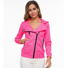 Autumn Hoodies Women Casual Long Sleeve Zip Up Hooded Jacket Female zip up two tone hooded track jacket
