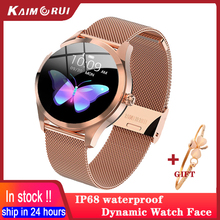 חכם שעון נשים עמיד למים IP68 קצב לב צג גשש כושר ספורט Smartwatch יפה שעון לחבר עבור IOS אנדרואיד