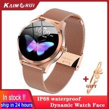 Inteligentny zegarek kobiety wodoodporny IP68 tętno Tracker do monitorowania aktywności fizycznej Smartwatch sportowy piękny zegar połącz dla IOS Android