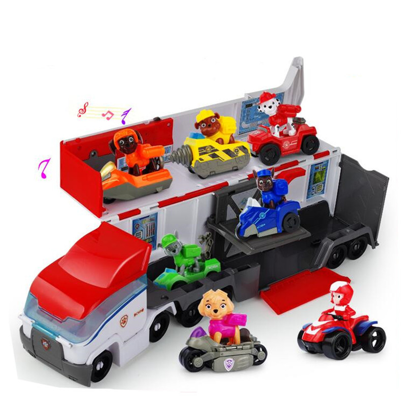 Paw Patrol Dog Patrol Car Mobile Rescue Big Bus Ryder Racing Deformed Anime Action Patrol Children's Birthday Toy Gift