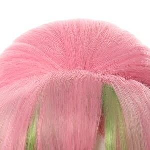 Image 5 - L email wig Demon Slayer Kanroji Mitsuri Cosplay Wigs Kimetsu no Yaiba Long Pink Mix Green Braid Cosplay Wig Synthetic Hair
