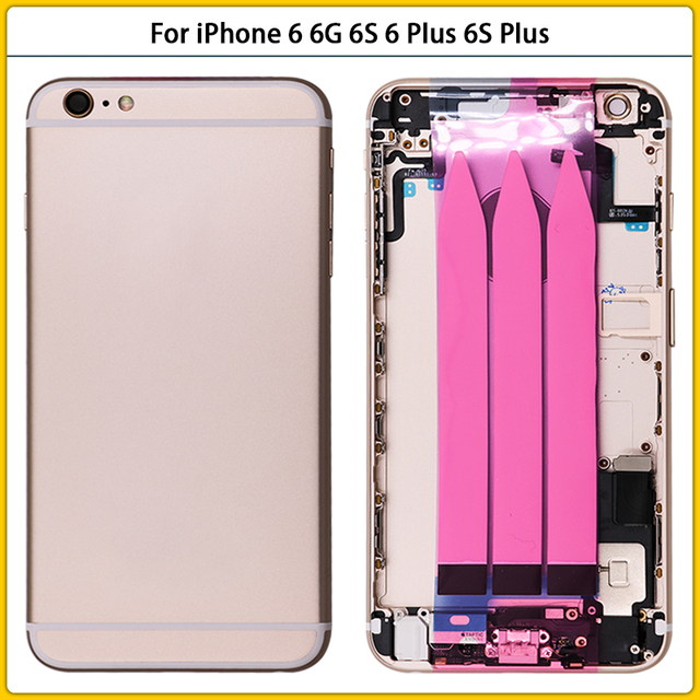 For iPhone 6 Full Housing Case For iPhone 6 6G 6S 6 Plus 6S Plus Battery Back Cover Door Middle Frame Bezel Chassis Flex Cable