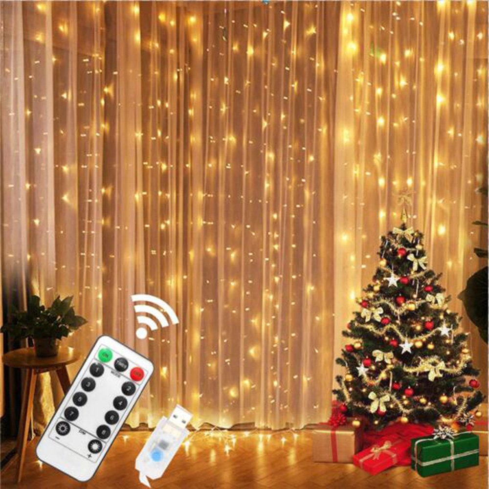 3M LED Icicle USB Power Remote Control Curtain Fairy  Christmas Garland Lights LED String Lights Party Garden Home Wedding Decor