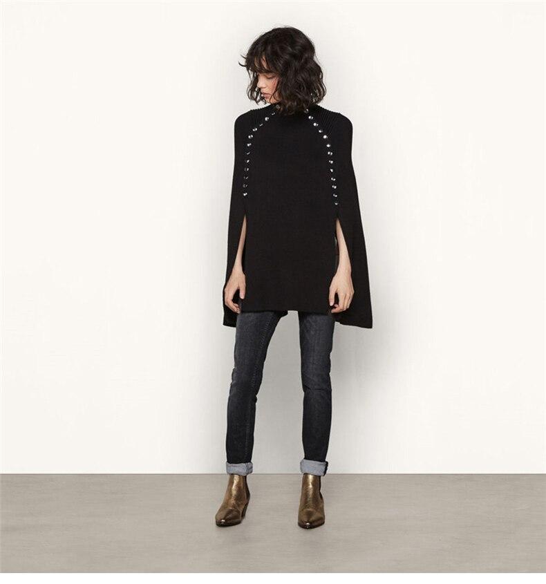 Роскошные вечерние, Клубные, женские, шерстяные накидки, шаль, пуговицы, элегантный вязаный свитер, накидка, зимние пончо, Свободный пуловер, длинный вязаный джемпер