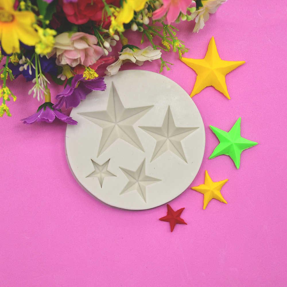 Star di Disegno 3d Del Silicone Della Muffa Della Torta strumenti di Decorazione di Stampaggio Fai Da Te di Cottura Strumenti di Produzione Artigianale Stencil