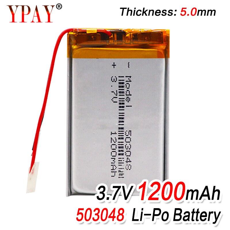 Аккумуляторная батарея 503048 3,7 В 053048 1200 мАч, литий-полимерный аккумулятор для MP3 MP4 Bluetooth GPS Беспроводная стерео гарнитура планшет