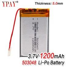 503048 bateria recarregável 3.7 v 053048 1200 mah bateria de polímero de lítio para mp3 mp4 bluetooth gps fone de ouvido estéreo sem fio tablet