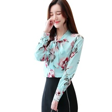 Blusas 2019 Blouse Women Autumn Fashion Floral Shirt Chiffon Shirt Bow Shirts Blouse Women Tops floral chiffon see thru blouse