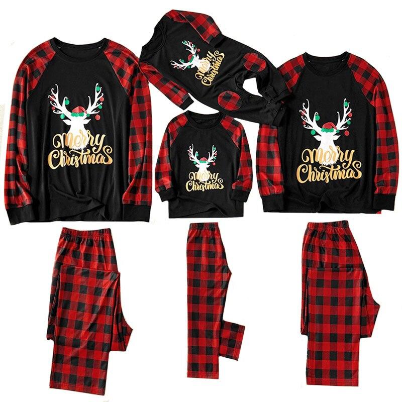 Рождественские пижамы для всей семьи, комплект рождественской одежды костюм для родителей и детей Домашняя одежда для сна новые одинаковые комплекты для семьи, для папы и мамы - Цвет: Dark blue