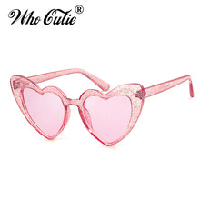 Quem cutie feminino óculos de sol marca designer do vintage forma coração rosa brilho lente engraçado óculos de sol meninas festa festival om863