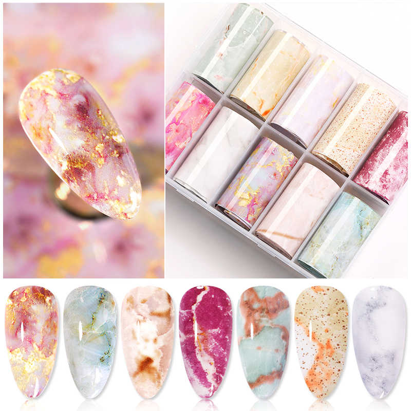 10 Roll/Box Marmeren Nail Folie Stickers Holo Nail Art Transfer Sticker Water Slide Adehesive Papier Wraps Nail Art sticker Tips