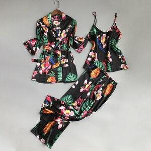 Image 4 - Пижамный комплект JULYS SONG женский из 3 предметов, атласный комплект на бретельках, из искусственного шелка, длинные штаны для сна и отдыха, одежда для сна