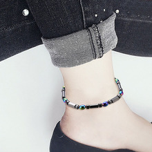 NJ Magnetic Stone Anklets Therapy Weight Loss Slimming Beaded Geometric Jewelry Health Care Ankle Bracelets For Woman