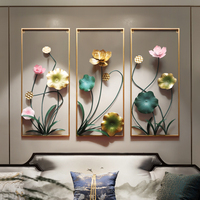 New Chinese Luxury Wrought Iron 3D Lotus Flower Wall Mural Pendant Livingroom Wall Hanging Decor Restaurant Wall Sticker R3225