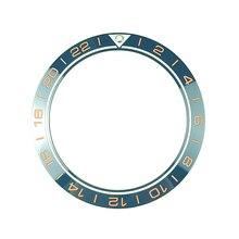 جديد 41.5 مللي متر GMT 24 ساعة عالية الجودة السيراميك الحافة إدراج ل غواص ساعة رجالي الساعات استبدال الملحقات الأزرق
