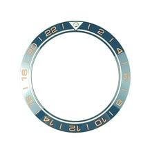 Novo 41.5mm gmt 24 horas de alta qualidade cerâmica bezel inserir para mergulhador relógio masculino relógios substituir acessórios azul