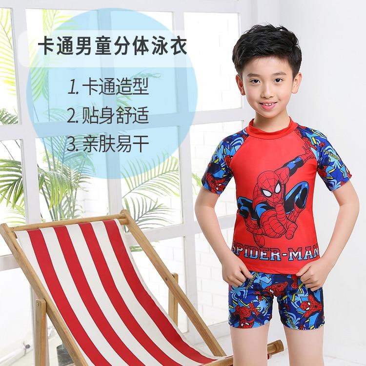 KID'S Swimwear BOY'S One-piece Split Type Sun-resistant Swimwear Big Boy Baby Cartoon Spider-Man Tour Bathing Suit