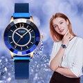 CURREN  новинка  стразы  модные  кварцевые  сетчатые  стальные часы для женщин  повседневные  синие  женские часы  bayan kol saati  стильные  роскошные ч...