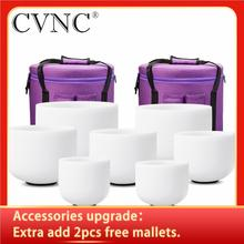 """CVNC 6"""" 12"""" Set of 7pcs Frosted Quartz Crystal Singing Bowl with Free Carry bags"""
