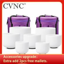 """Cvnc 6 """" 12"""" Set Van 7Pcs Frosted Quartz Crystal Klankschaal Met Gratis Draagtassen"""