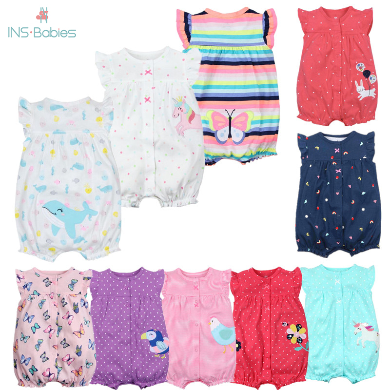 Newborn Baby Girl Clothes Infant Cartoon Animal Costumes Baby Clothing Rompers Summer Short Sleeve Jumpsuit 100% Cotton Pajamas
