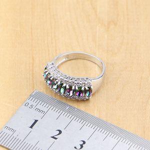 Image 5 - 925 Silver Jewelry Mystic Rainbow Fire Imitation Stones Jewelry Sets Women Wedding Earrings/Pendant/Necklace/Rings/Bracelet