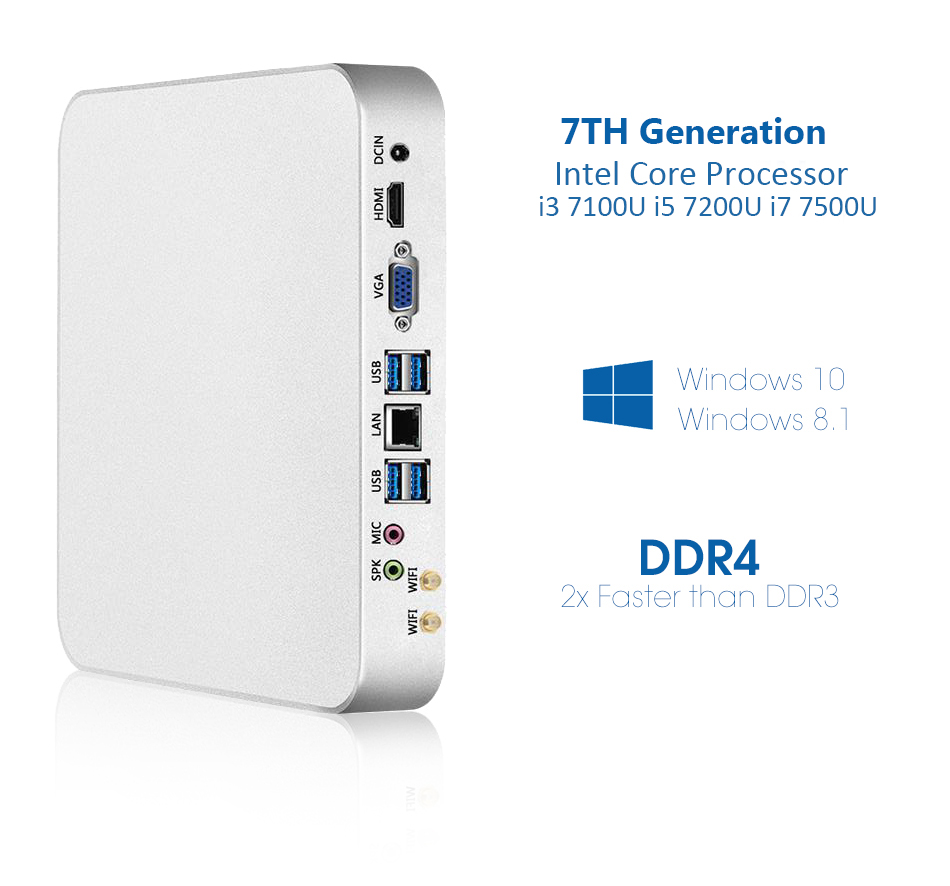 XCY Mini PC with Intel Core i7 i3 i5 Processor option and Gigabit LAN including 6xUSB Ports 7