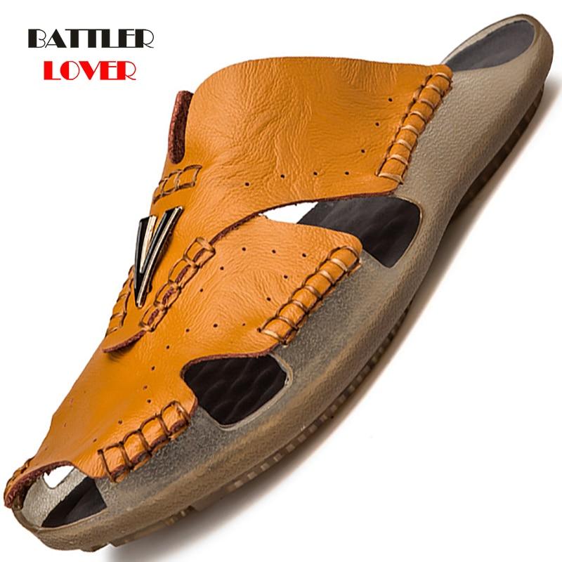 High Quality Genuine Leather Non-slip Slippers Men Beach Sandals Comfortable Summer Shoes Mens Slippers Classics Men Flip Flops