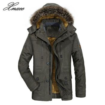 Xnxee Winter Jacket Men 5XL 6XL Cotton Padded Warm Parka Coat Casual Faux Fur Hooded Fleece Long Male Jacket Windbreaker Men