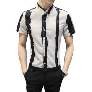 Image 5 - Chemise rayée pour hommes, chemise dété à manches courtes pour hommes, tenue Slim pour tout, boîte de nuit, smoking 3XL, à la mode 2020