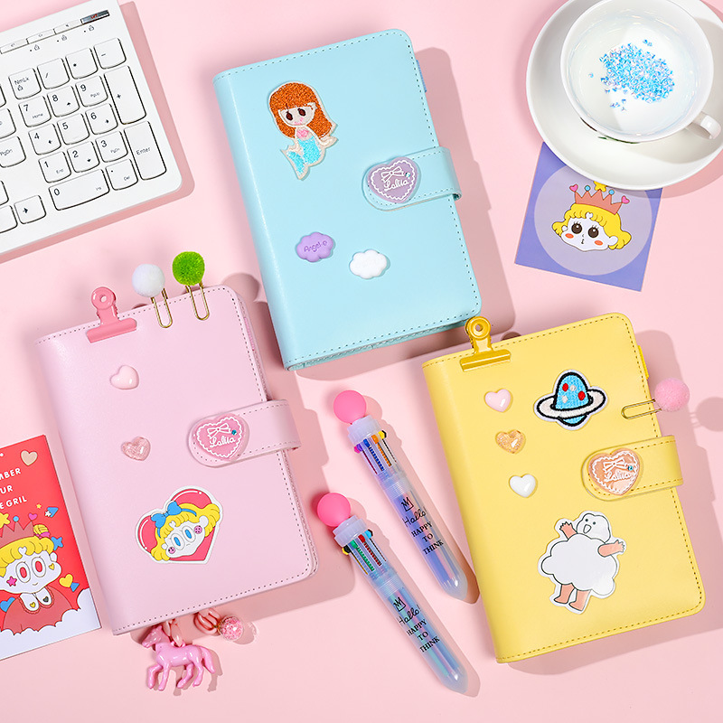 Kawaii Notebook A6 Binder Bullet Journal Korean Girls DIY Agenda Planner Organizer Spiral Note Book Set Cute Travel Handbook