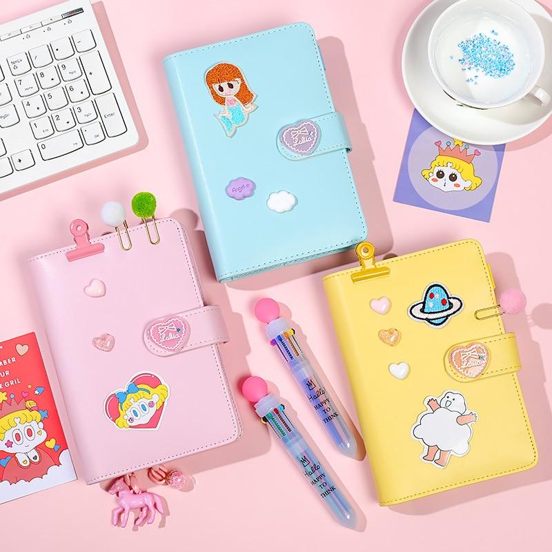 Kawaii Notebook A6 Binder Bullet Journal Korean Girls DIY Agenda Planner Organizer Spiral Note Book Set Cute Travel Handbook