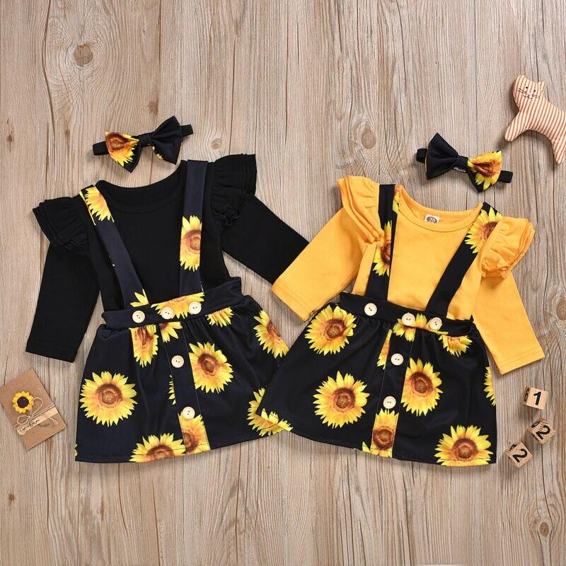 Cute Newborn Kids Baby Girl Clothes Sets Halloween Outfits Long Sleeve Sunflower Print Romper Tops +Tutu Dress 2pcs