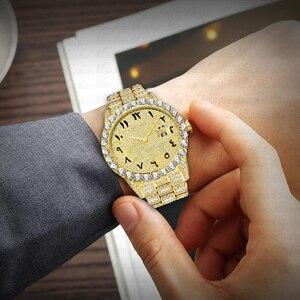 Image 5 - MISSFOX relojes con números arábigos para hombre, reloj de lujo de marca superior, oro de 18k, Diamante grande con Canlender, Reloj clásico para hombre Iced Out